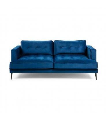 Sofá 3 plazas tapizado terciopelo azul klein desenfundable con patas de metal negro MAD