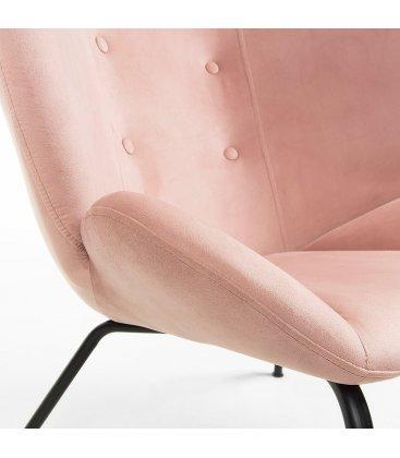 Sillón tapizado en rosa empolvado con patas metálicas en negro BUTTERFLY