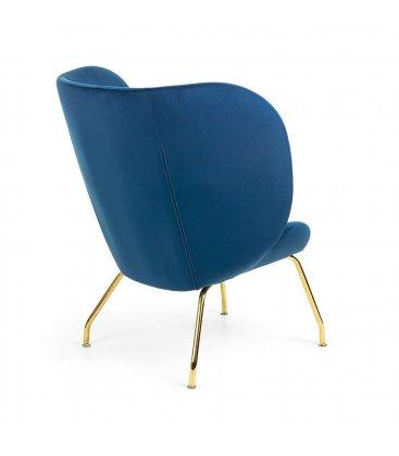 Sillón tapizado en terciopelo azul klein con patas metálicas en dorado BUTTERFLY