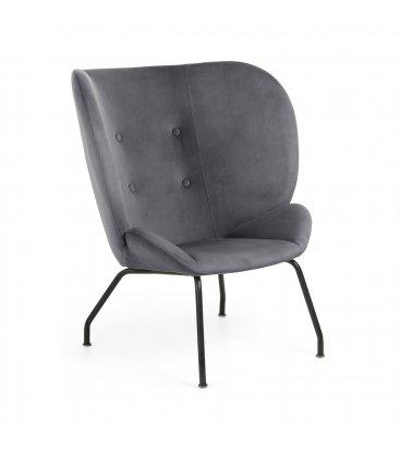Sillón tapizado en terciopelo gris con patas metálicas en negro BUTTERFLY