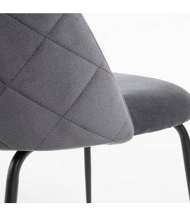 Silla tapizada en terciopelo gris y patas negras INGRID