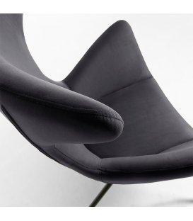 Sillón tapizado en terciopelo gris oscuro con patas metálicas en negro BOGART