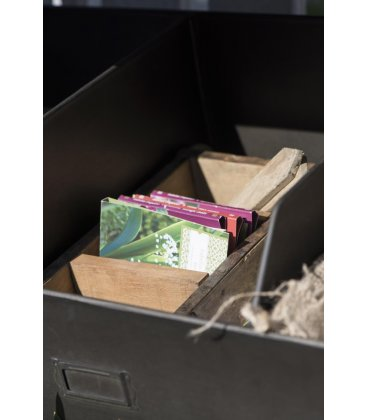 Organizador compartimentado de madera antigua BRICK