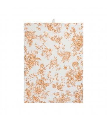 Paño de algodón multiusos blanco con flores mostaza 70x50cm