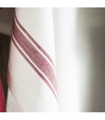 Paño de algodón multiusos blanco con dos rayas rojas 70x50cm