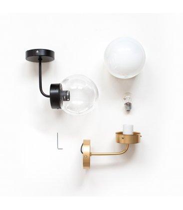 Aplique lámpara de pared de latón y tulipa cristal transparente bola ATOM