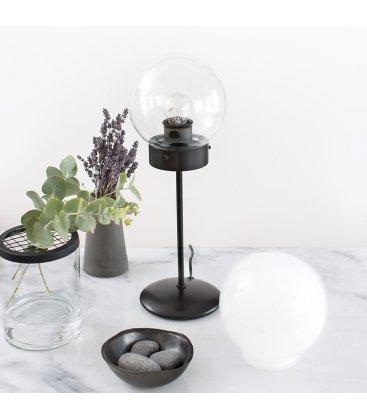 Lámpara de sobremesa negra y tulipa cristal transparente bola ATOM