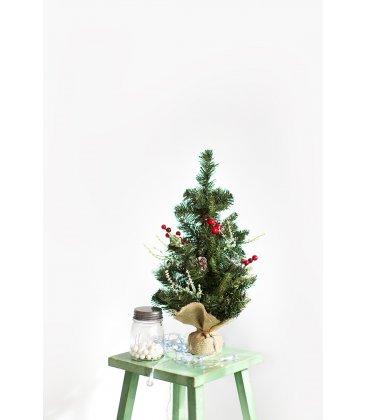 Árbol de Navidad decorado con acebo y piñas de 50cm alto