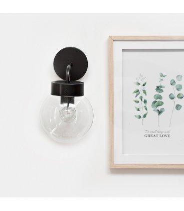 Aplique lámpara de pared negra y tulipa cristal transparente bola ATOM