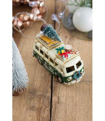 Adorno Navidad autobús verde retro con árbol y regalos