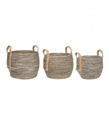 Cesta redonda mimbre gris y cuerda natural (varios tamaños)