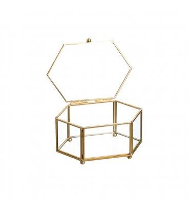 Caja vidrio y metal dorado hexagonal pequeña