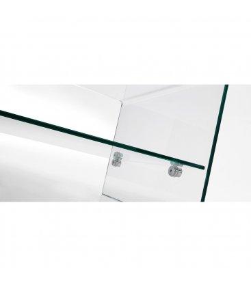 Mesa de centro rectangular de vidrio templado con balda intermedia GLASS