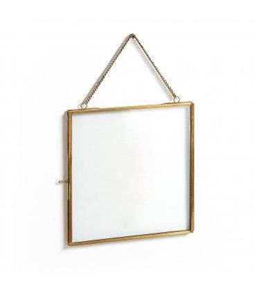 Marco de latón dorado con centro de vidrio 20x20cm
