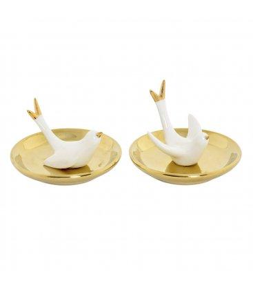 Anillero cerámico golondrina blanco y dorado