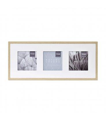 Marco madera multifoto horizontal para 3 fotos con passepartout blanco