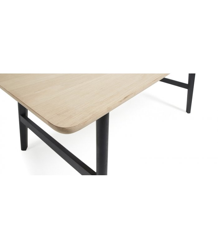 Mesa de comedor de madera de roble y patas negras - Mesa salon roble ...
