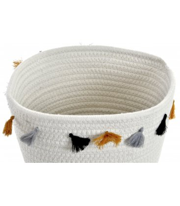 Cesta de algodón trenzado con flecos BOHO (2 tamaños)
