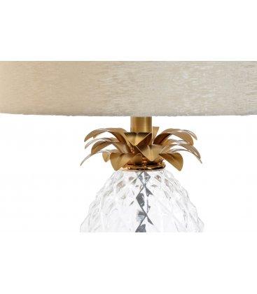 Lámpara de sobremesa cristal y tulipa tela detalle piña