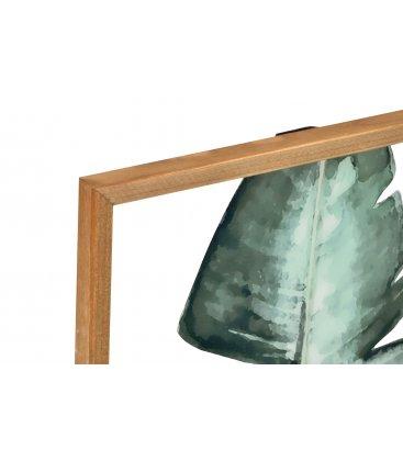 Cuadro madera con centro de vidrio impreso monstera-n1 38x50cm