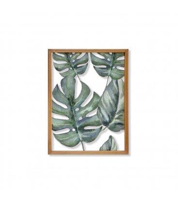 Cuadro madera con centro de vidrio impreso monstera-n2 38x50cm