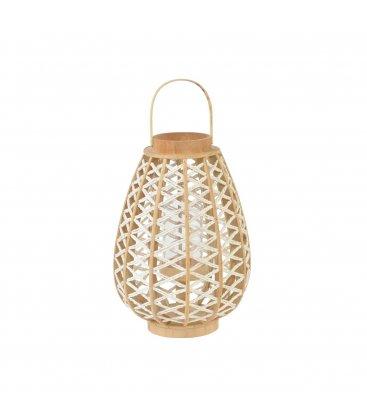 Farol portavelas con asa de bambú y cuerda trenzada