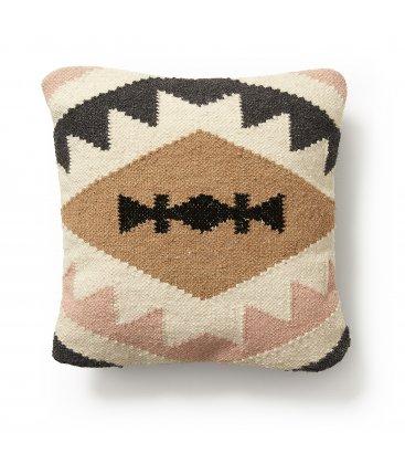 Funda de cojín cuadrado beige, rosa palo, marrón y negro PAULA n01 45x45cm
