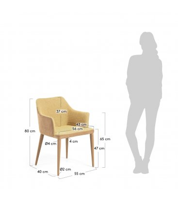 Pack de 2 sillas con reposabrazos tapizadas en mostaza y beige DANUBE