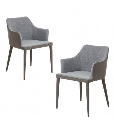 Pack de 2 sillas con reposabrazos tapizadas en grises oscuros DANUBE