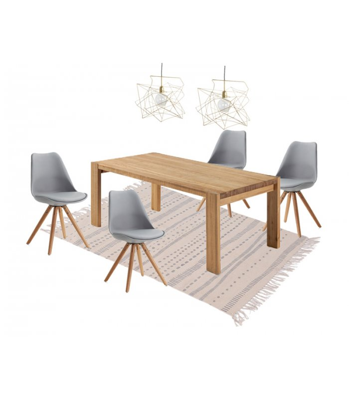 Silla de comedor gris con patas de madera lara for Comedor 4 sillas madera