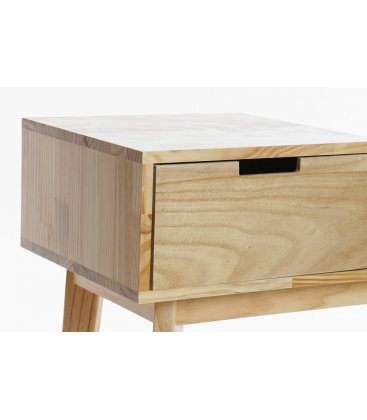 Banqueta descalzadora estructura madera y asiento beige SITT