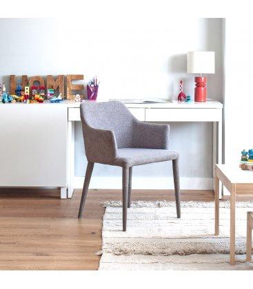 Pack de 2 sillas con reposabrazos tapizadas en grises claros DANUBE