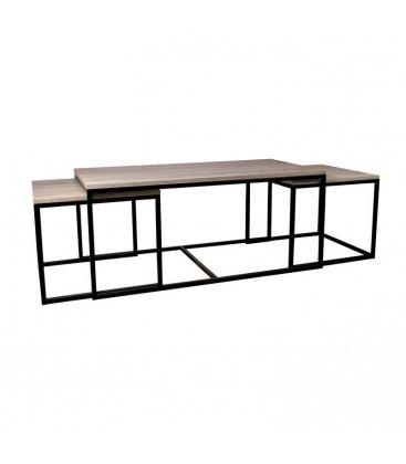 Mesa de centro rectangular metal y madera NEW YORK