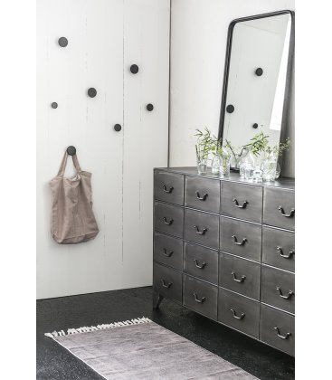 Pack de percheros de botón en negro-madera