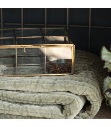Caja vidrio y metal dorado rectangular compartimentada