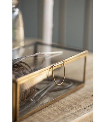 Caja vidrio y metal dorado rectangular