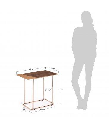 Mesa auxiliar patas de cobre y sobre de roble y nogal TANA n01