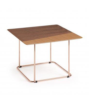 Mesa auxiliar patas de cobre y sobre de roble y nogal TANA n02.