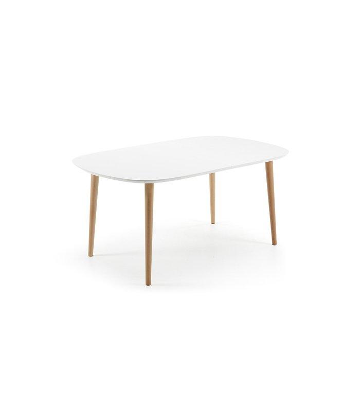 Mesa de comedor extensible con sobre blanco