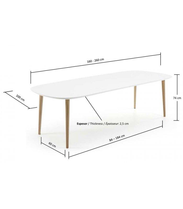 Mesa de comedor extensible con sobre blanco for Mesas ovaladas para comedor