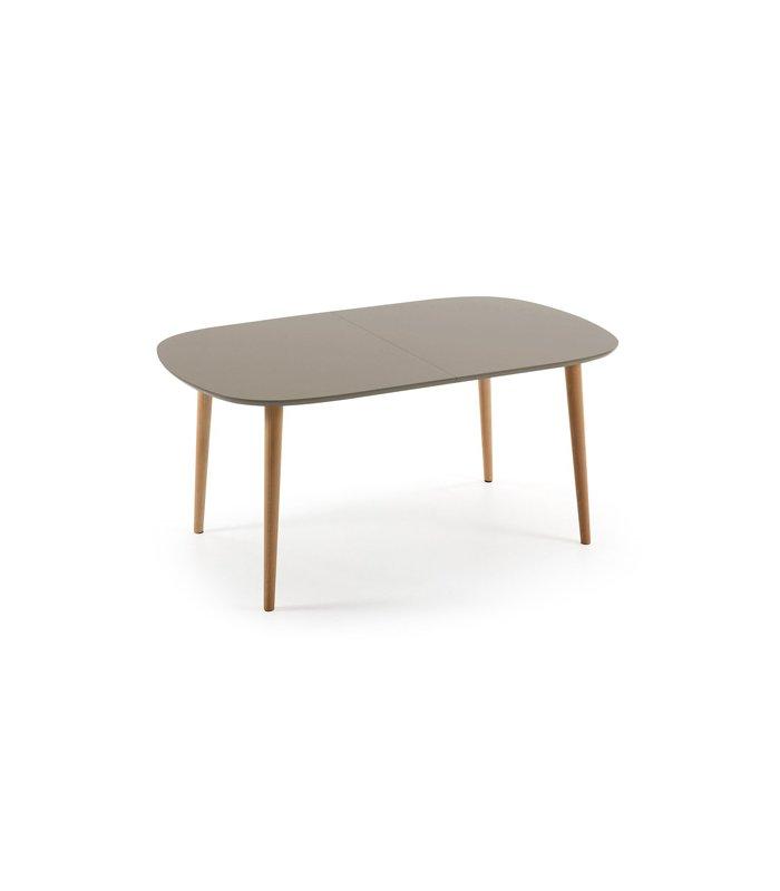 Mesa de comedor extensible con sobre gris topo for Mesas de comedor haya
