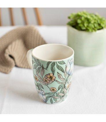 Taza porcelana blanca esmaltada con estampado flores (4 modelos)