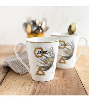 Taza porcelana blanca esmaltada con estampado negro y dorado (4 modelos)