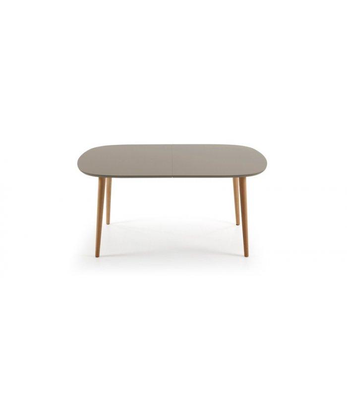 Mesa de comedor extensible con sobre gris topo for Comedor ovalado extensible
