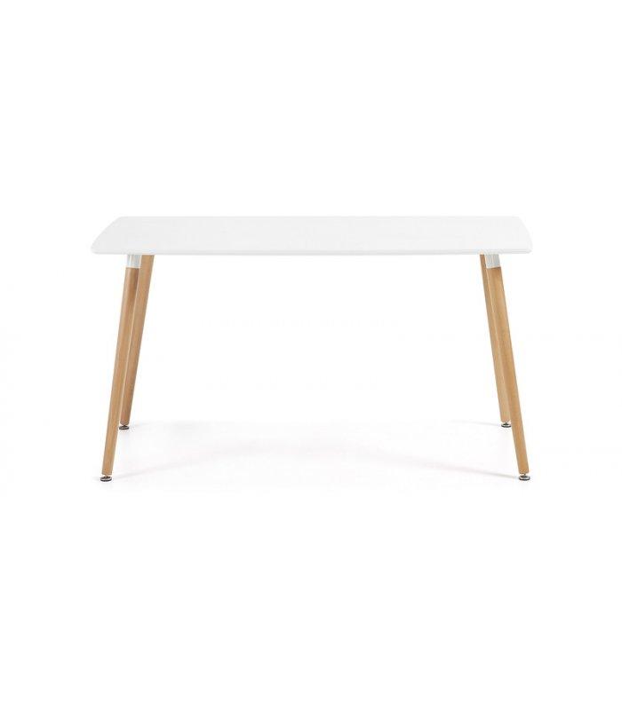 Mesa de comedor rectangular con sobre blanco for Mesas de comedor madera blanca