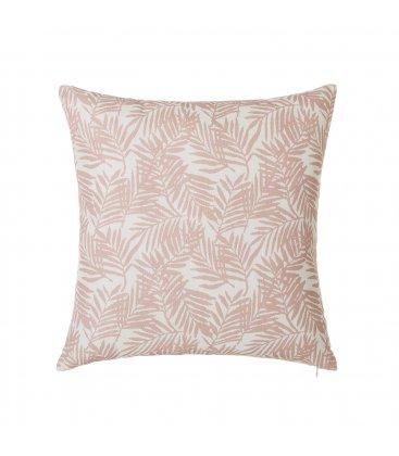 Cojín cuadrado blanco con hojas rosas FERN 45x45cm