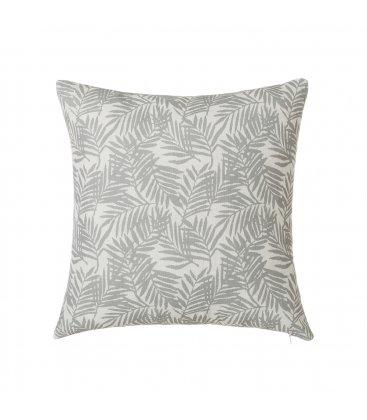Cojín cuadrado blanco con hojas grises FERN 45x45cm