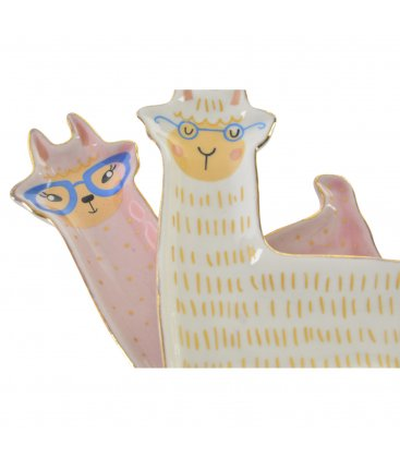 Bandeja vaciabolsillos con forma de llama rosa o blanca