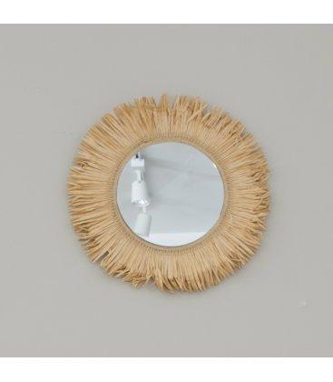 Espejo redondo con flecos de fibra natural