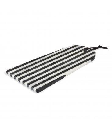 Tabla de cortar de mármol rayas blancas y negras MARBLE 19x40cm